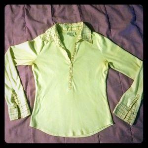 Ann Taylor LOFT S collared henley long sleeved T